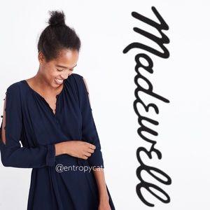 NWT Madewell Shirred Button Shoulder Midi Dress